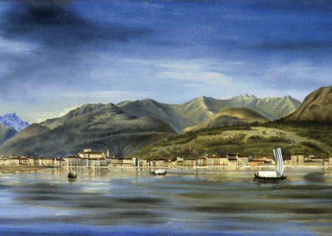 Luigi Litta, Veduta di Intra dal lago olio su cartone riportato su tela, cm 41,5 x 133