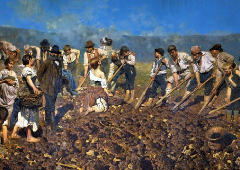 Arnaldo Ferraguti, Alla vanga, 1890 olio su tela, cm 280 x 650, dono di Silvio Della Valle di Casanova