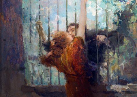 Ambrogio Antonio Alciati, Il convegno, 1918 olio su tavola, cm 64 x 57, legato Züst
