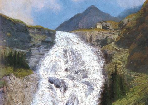 Federico Ashton, Cascata del Toce in Valle Formazza, databile entro il 1890 olio su tavola, cm 59,8 x 33,5, dono di Natalina Bionda